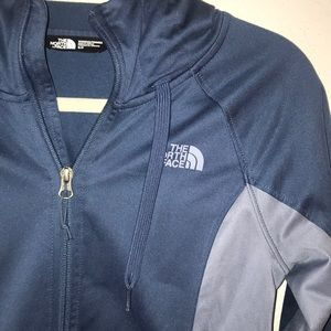 The north face women's blue zip up hoodie